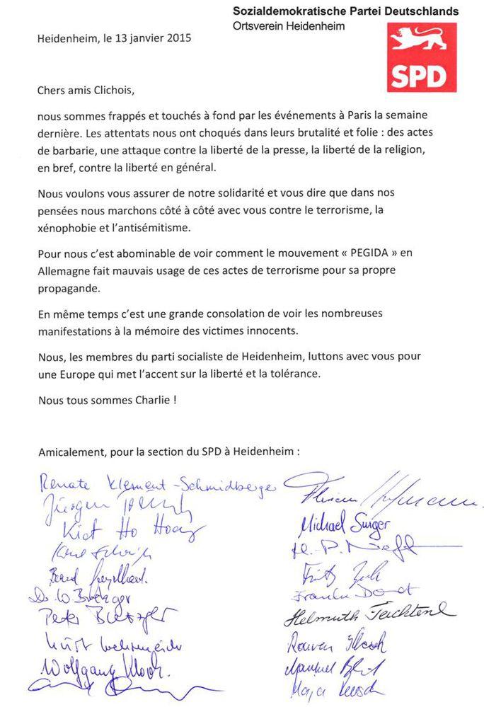 Offener Brief an die Parti Socialiste in Clichy